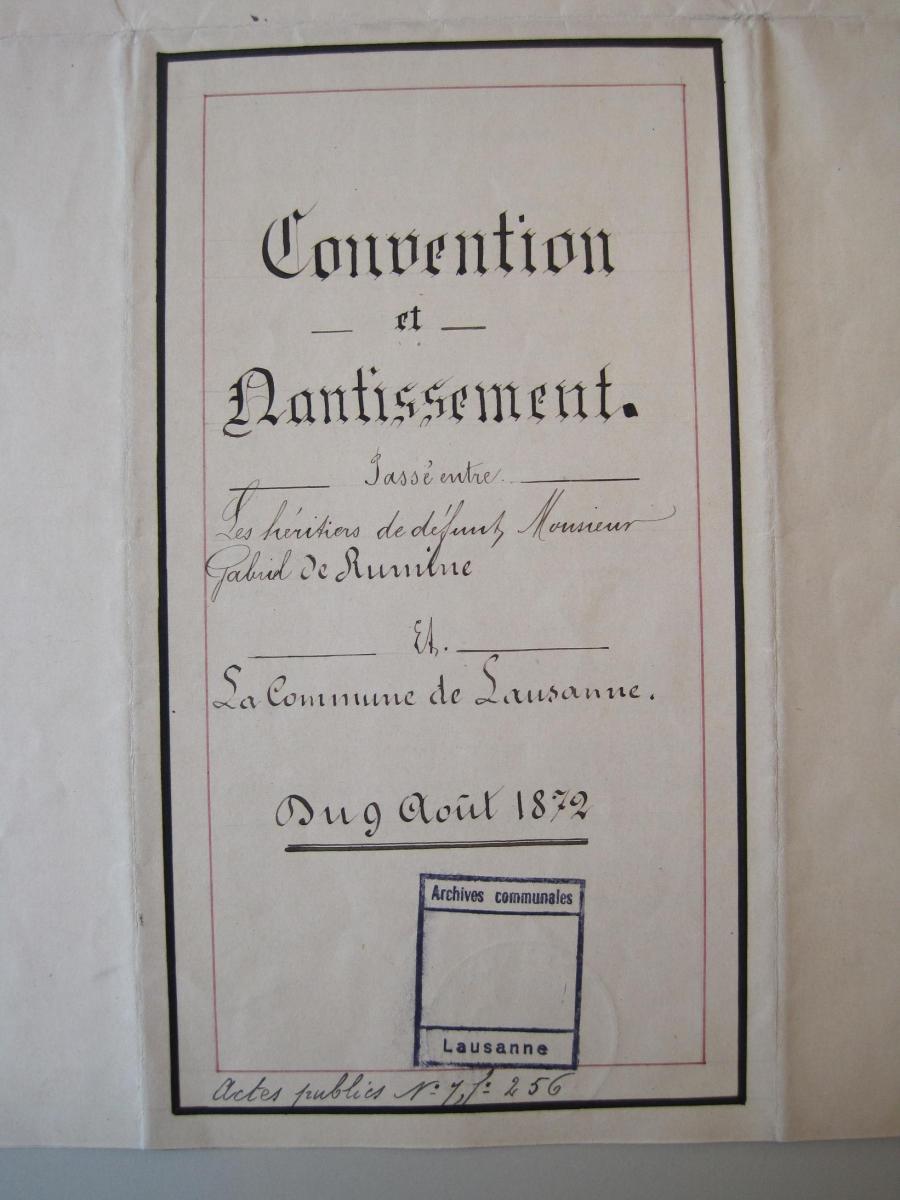 Письмо  адвоката Л.Рамбера /  L.Rambert к синдику Лозанны о вступлении   правительства России в тяжбу о  наследстве Г.В.Рюмина, от 23 января 1872   г. Collection des Archives de  la Ville de Lausanne.